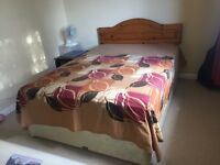 Double bed with mattress (hardly used, as good as new)