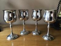 Set of 4 Vintage Jonelle Silver Plate Wine Goblets.