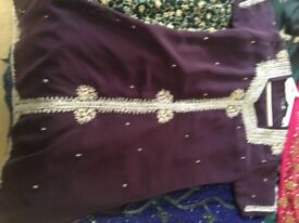 Ladies wedding party outfit burgundy and gold
