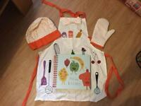 Children's recipe book with apron, hat and baking glove