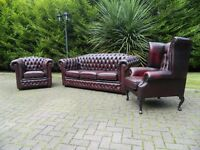 Vintage Chesterfield 3+1+1 Ox-Blood Leather Suite