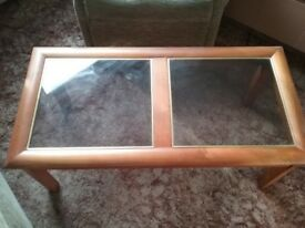 glass topped wooden coffee table vintage retro