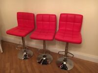 3padded red kitchen/bar stools