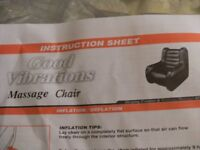GOOD VIBRATIONS INFLATABLE MASSAGE CHAIR (New & Boxed)