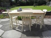 Shabby Chic Solid Pine Farmhouse Country Table and Chairs In Farrow & Ball Cream No 67