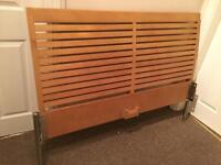 Birch Wood Double Bed Frame, 2 Month old Memory Foam Mattress & 2 bed Side Cabinets