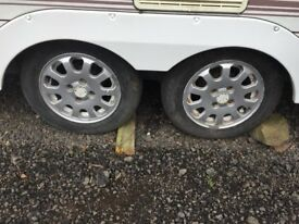 Caravan Alloys set of 4 with tyres. 165 70/13