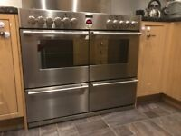Stoves range cooker with double oven, grill, 7 burners, splash back and extractor