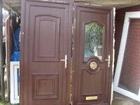 2 upvc doors ideal for garage or large garden shed