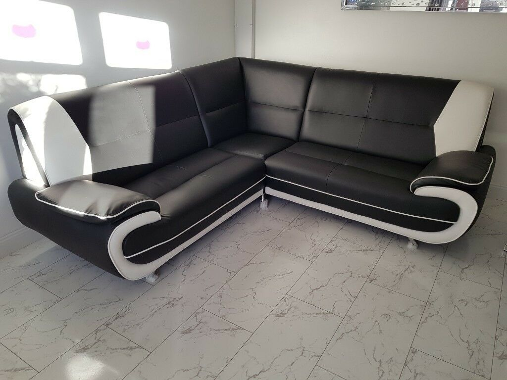 Corner Sofa 2seater Black And White Leather Corner Sofa