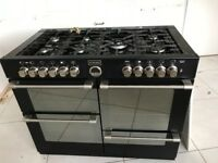 Stoves Dual Fuel Range Cooker 110cm wide, Gas Hob and Electric Ovens + Matching Extractor Fan