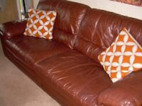2 x 3 Seater Italian Leather Sofa's and 1 x Italian Leather Footstool For Sale