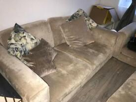 Full Suite-Large 2 seater couch, 1 seat arm chair with pouffe & cushions