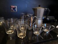Coffee pot and glass cups