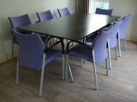 KITCHEN TABLE / OFFICE TABLE / EXECUTIVE DESK AND EIGHT TRIllIPSE CHAIRS