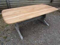 Stunning Ercol 6ft Solid Elm Planktop Refectory Dining Table Painted Farrow & Ball - Osmo Polyx Oil