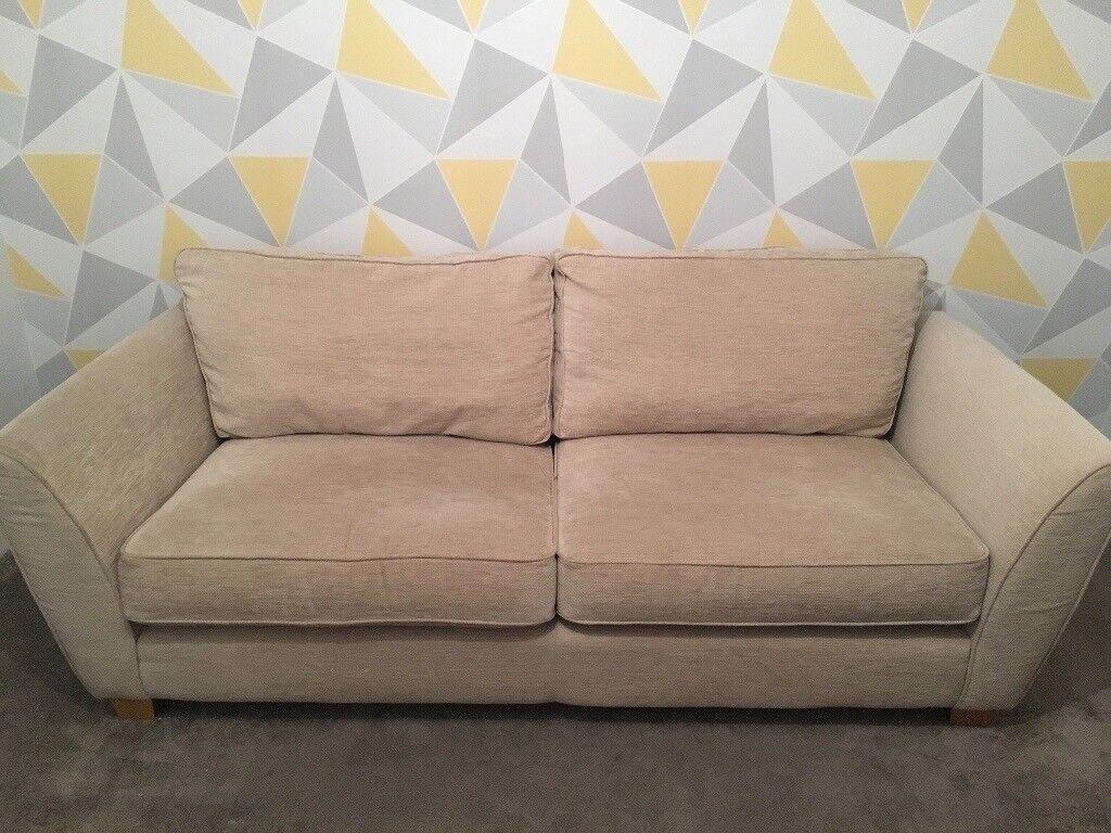 Natural/cream 3 seat sofa