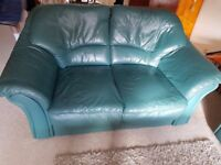 Set of 2 and 3 seater Italian soft leather couches in green colour