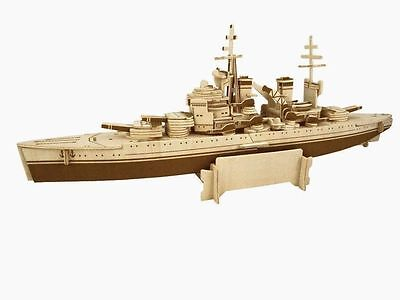 HMS Prince of Wales Woodcraft Construction Kit Battleship Wooden 3D Model Puzzle