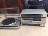 Vintage, separated JVC stereo system.