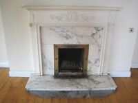 Reclaimed detailed timber fireplace - White