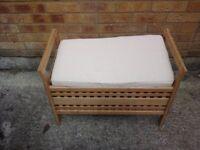 Light wooden seated ottoman/storage stool