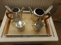 Tray with teapot, hot water pot, milk jug and sugar basin
