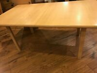 Extendable dining table (wooden 1m75cm PLUS 50cm extension) and 6 chairs - FREE