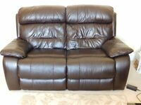 Leather electric 2 seater recliner and chair recliner with 2 leather tub chairs. All dark brown.