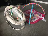 Bouncy chair and play mat.
