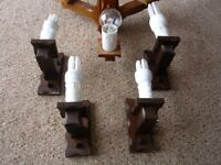 WOODEN 3-ARM LIGHTS RUSTIC VINTAGE COTTAGE STYLE walls lights