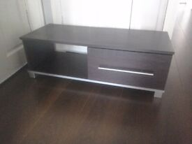 Minsk TV Unit - Wenge Effect - Shelf and drawer REDUCED Low level Dark wood effect
