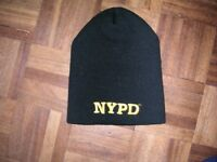 3 woolen hats - one with NYPD logo.