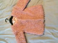 Next pink fluffy jacket age 8