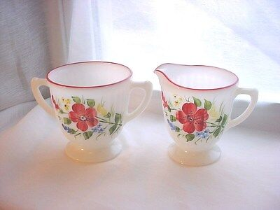Vtg Milk White Glass Cream and Sugar Set with Red Hand Painted Flowers 3 inch