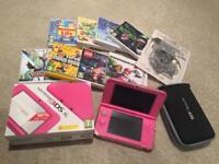NINTENDO 3DS XL PINK ORIGINAL CHARGER / CASE / COVER + 8 games immaculate condition
