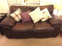 Brown leather 2 piece suite (sofas)