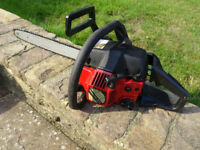 Jonsered 2035 chainsaw. Recently serviced, for spares or repair, occasionally works. 2 spare chains.