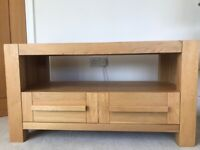 Solid oak tv stand with drawers