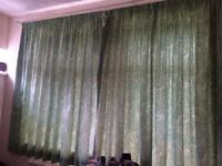 Light green lined curtains