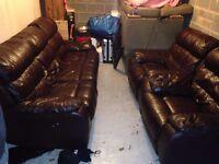 Dark Brown Leather Electric Recliner Sofa Set