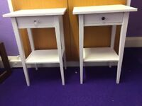 Two White Hemnes Bedside Tables