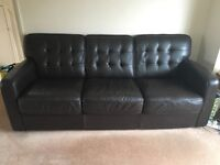 Brown leather large 3 seater, very good condition bar a few cat scratches as shown