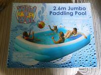 2.6 jumbo paddling pool new
