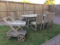 Teak vintage garden table & chair set with drinks trolley