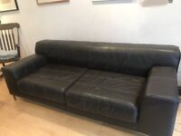 IKEA BLACK LEATHER 3 SEATER SOFA FOR SALE - MUST GO ASAP - FREE DELIVERY SOME AREAS - £175