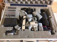Bundle Of Cameras With Big Lens And Case (Konica and Canon)
