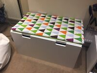Large storage bench with cushion on Top