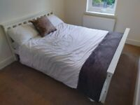 (SOLD pending collection) White Double Bed and Mattress