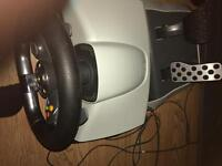 Xbox 360 halo edition with xbox 360 wireless steering wheel